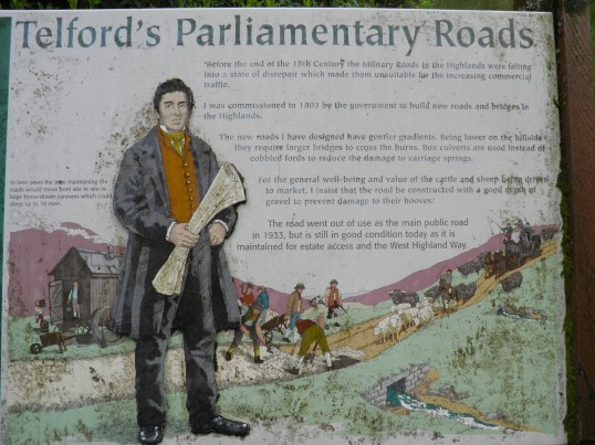 Information board by the old military road