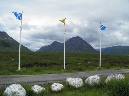 Scottish flags framing Buachaille Etive Mor