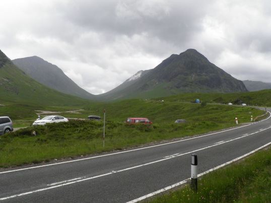 The A82 snaking from one glen to the other
