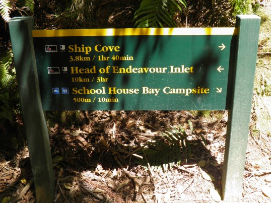 DOC signage at Schoolhouse Bay junction