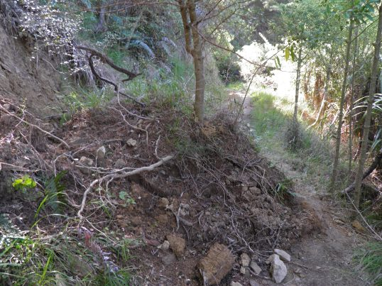 The first of many landslides on day 3